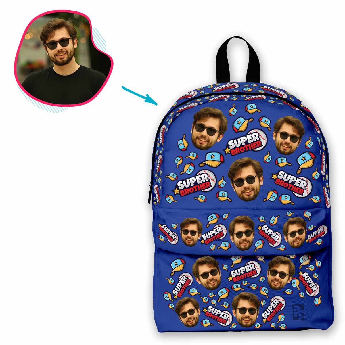 darkblue Super Brother classic backpack personalized with photo of face printed on it