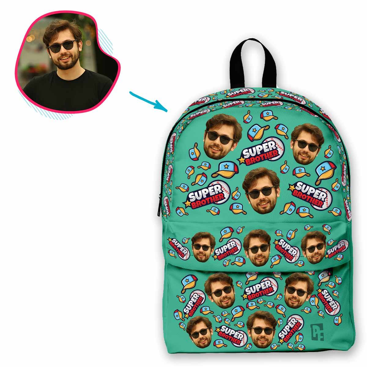 mint Super Brother classic backpack personalized with photo of face printed on it
