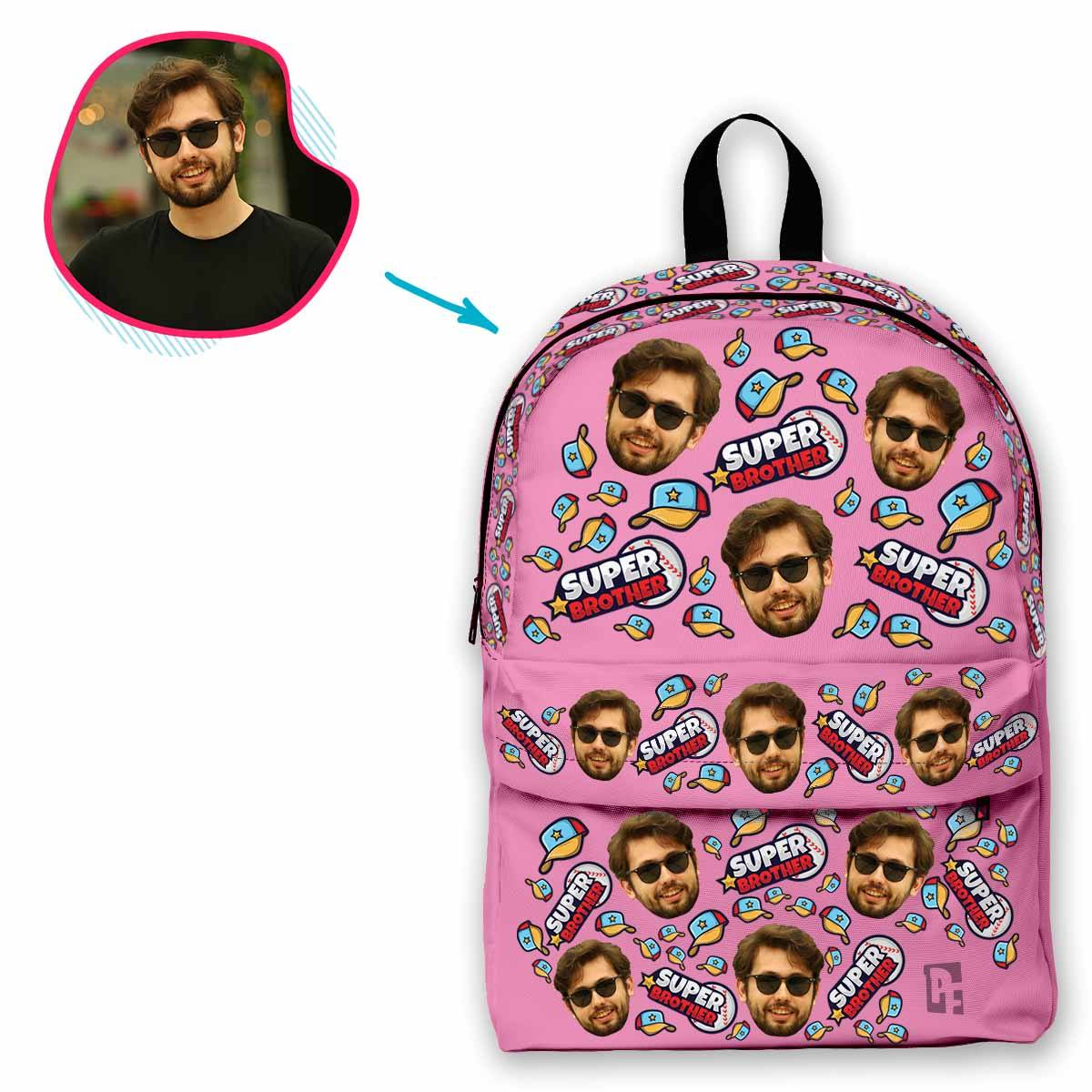 pink Super Brother classic backpack personalized with photo of face printed on it