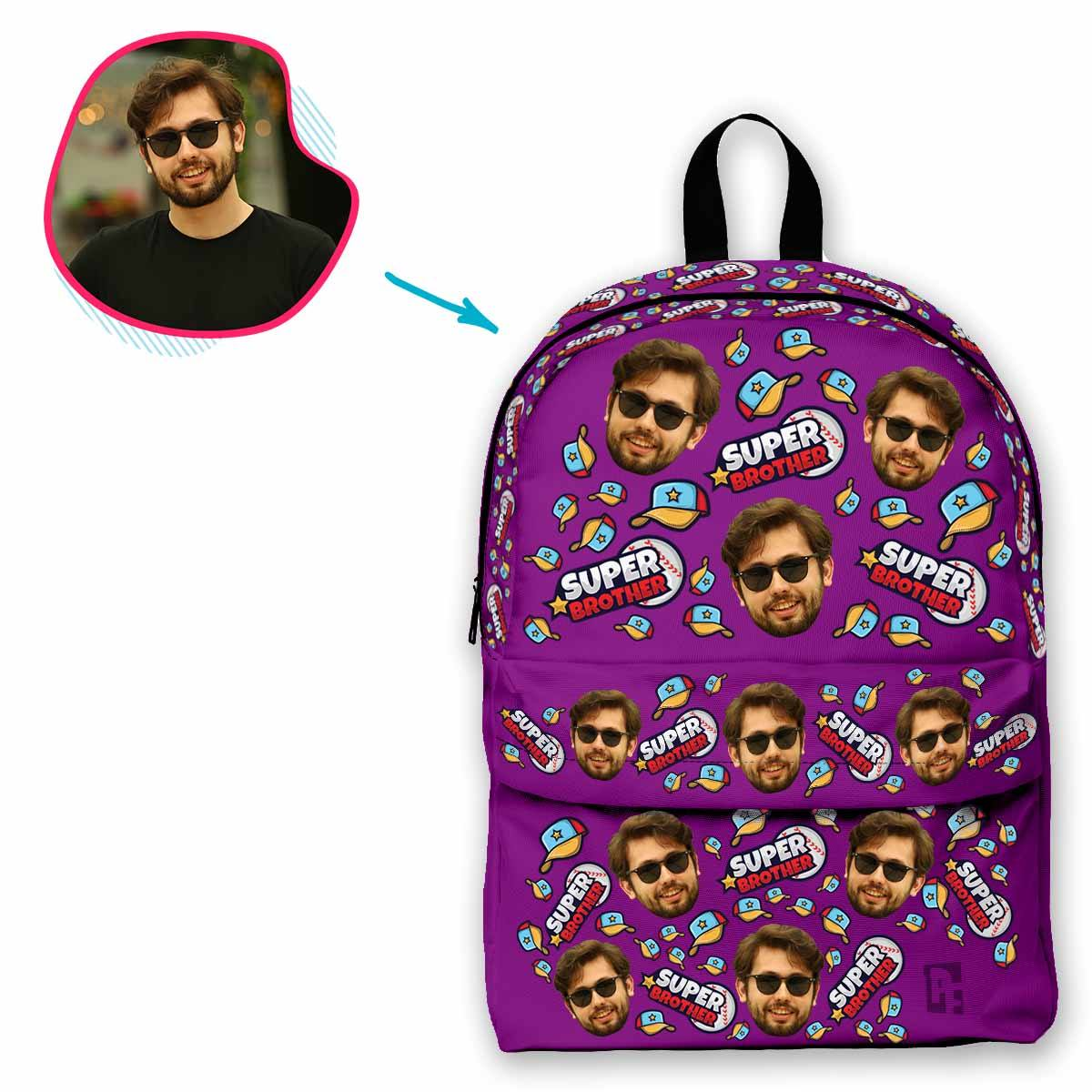purple Super Brother classic backpack personalized with photo of face printed on it