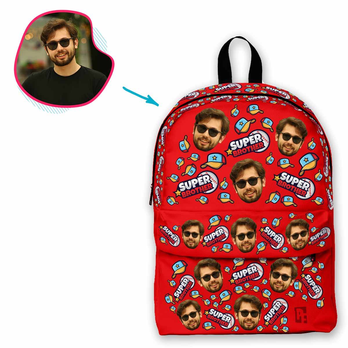 red Super Brother classic backpack personalized with photo of face printed on it