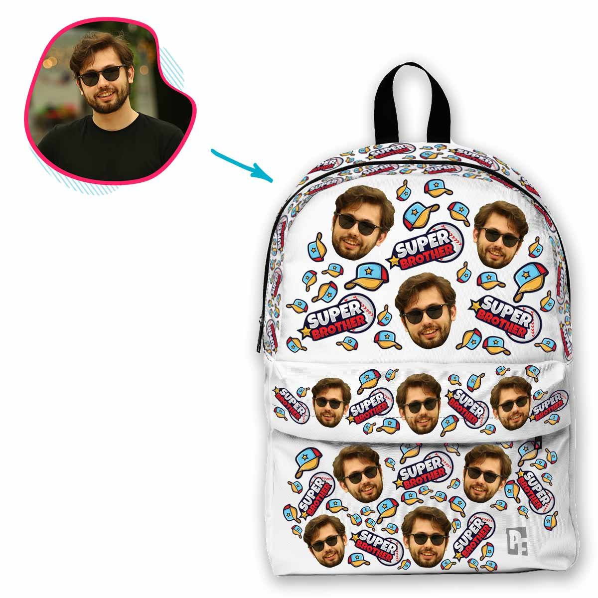white Super Brother classic backpack personalized with photo of face printed on it
