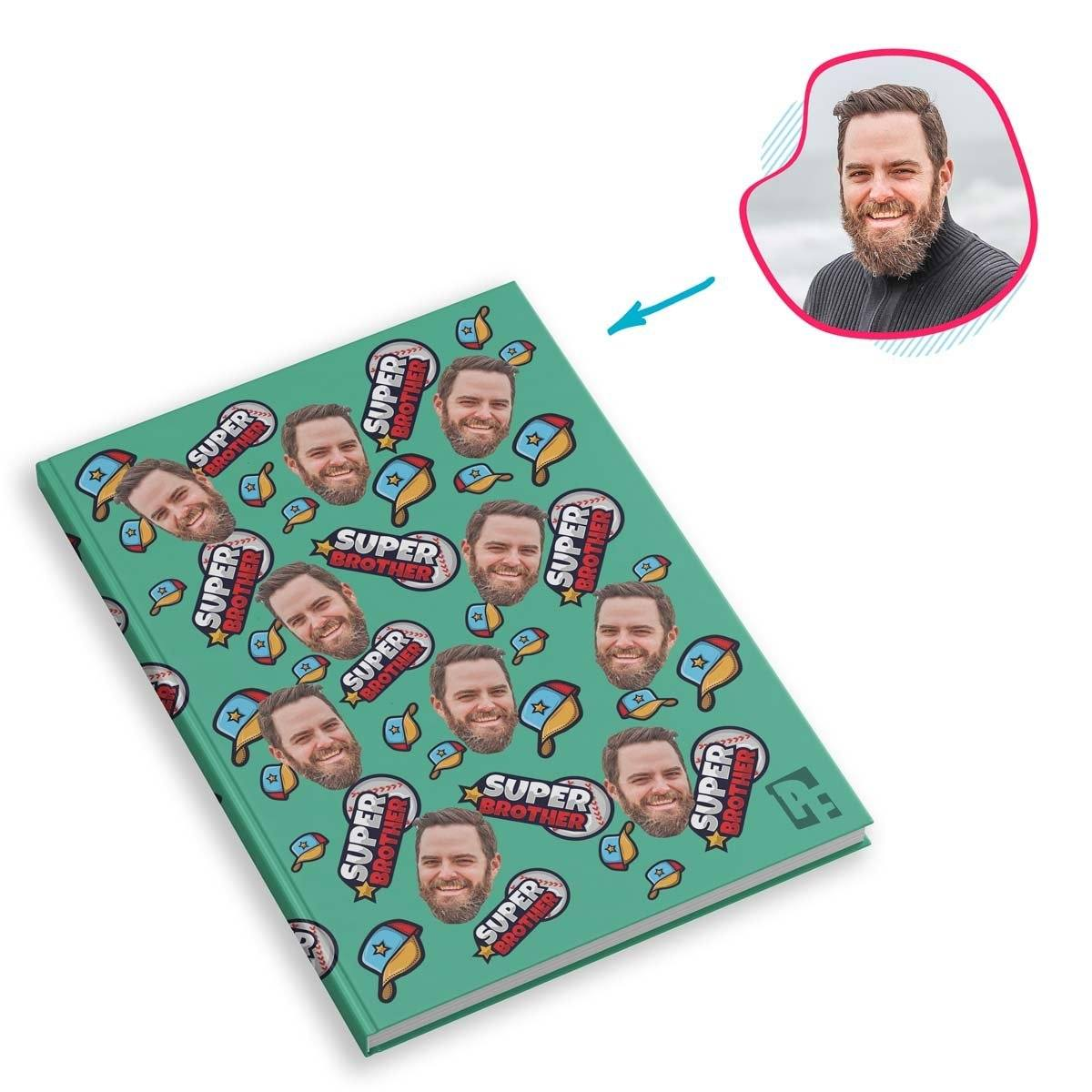 mint Super Brother Notebook personalized with photo of face printed on them