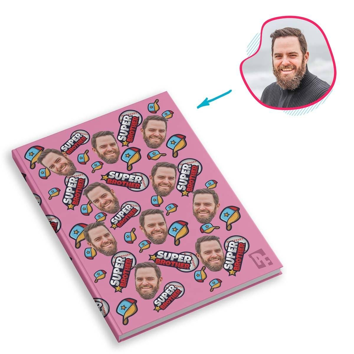 pink Super Brother Notebook personalized with photo of face printed on them