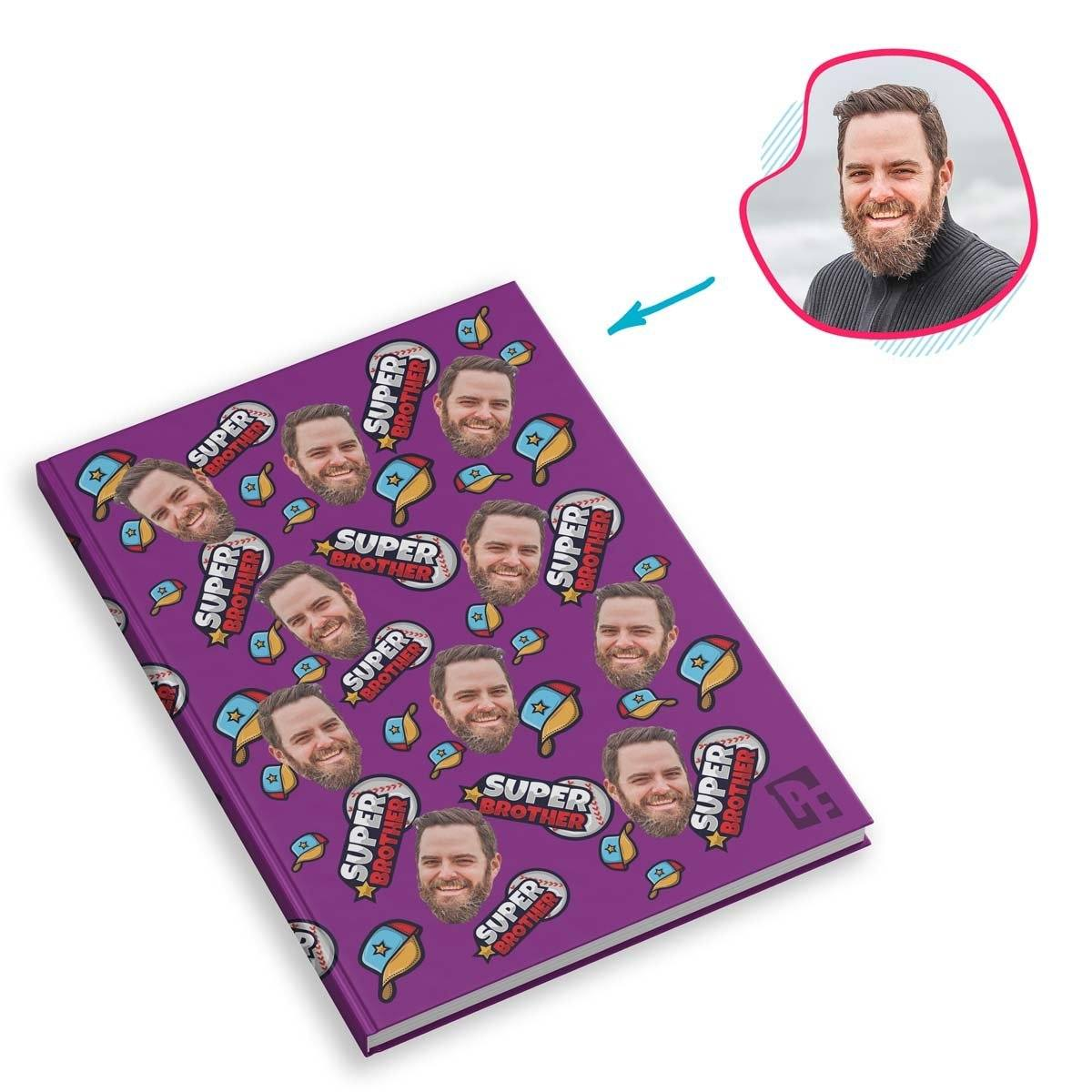 purple Super Brother Notebook personalized with photo of face printed on them