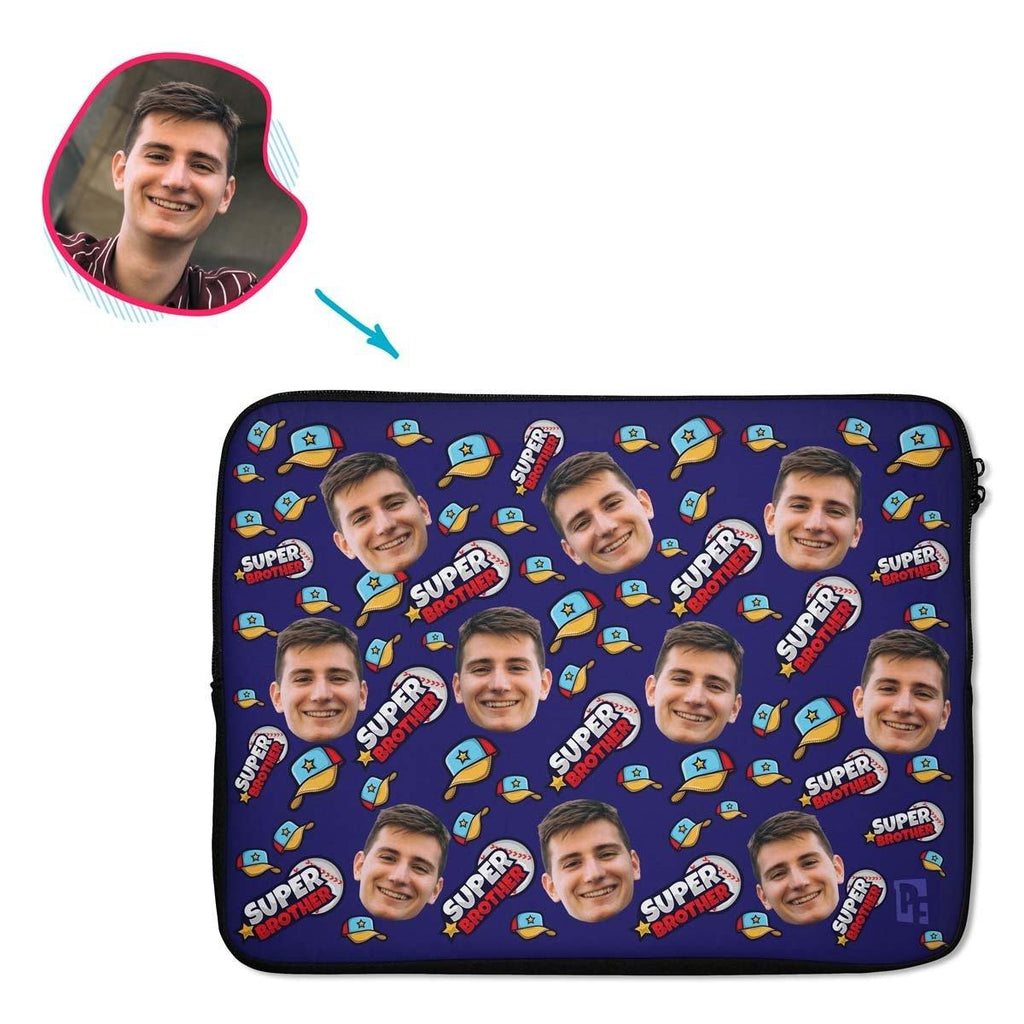 navy Super Brother laptop sleeve personalized with photo of face printed on them
