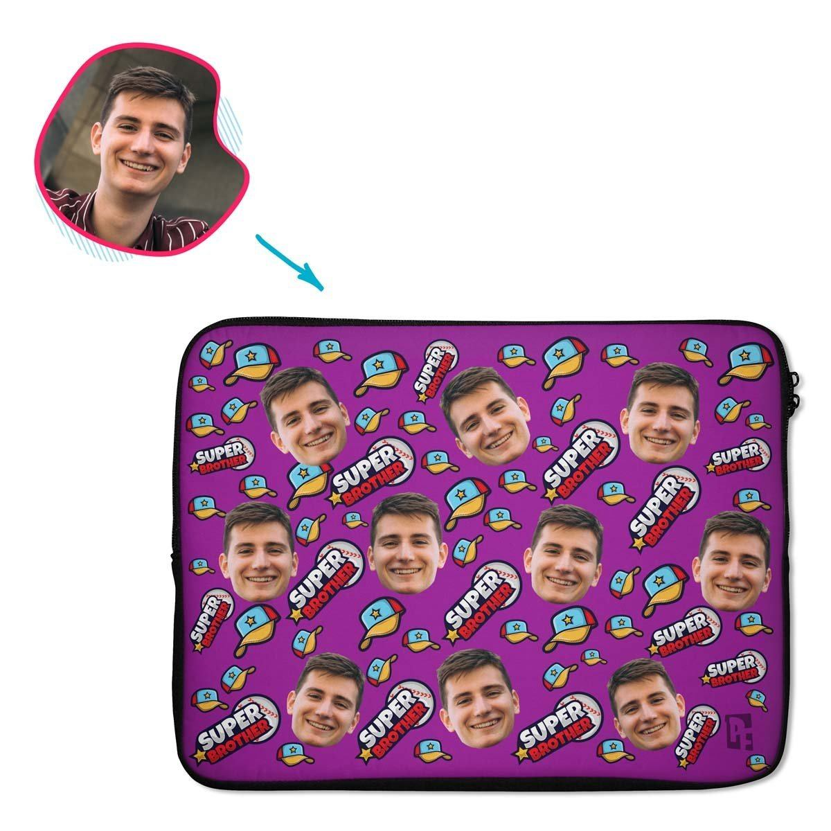 purple Super Brother laptop sleeve personalized with photo of face printed on them