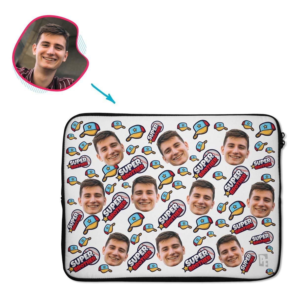 white Super Brother laptop sleeve personalized with photo of face printed on them
