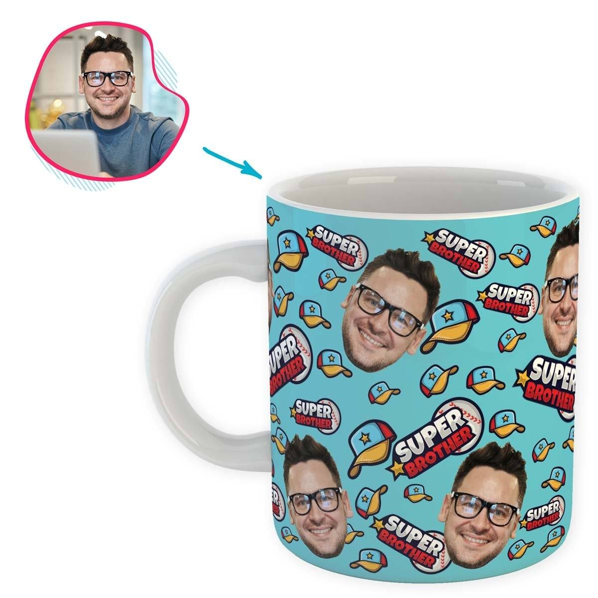 blue Super Brother mug personalized with photo of face printed on it