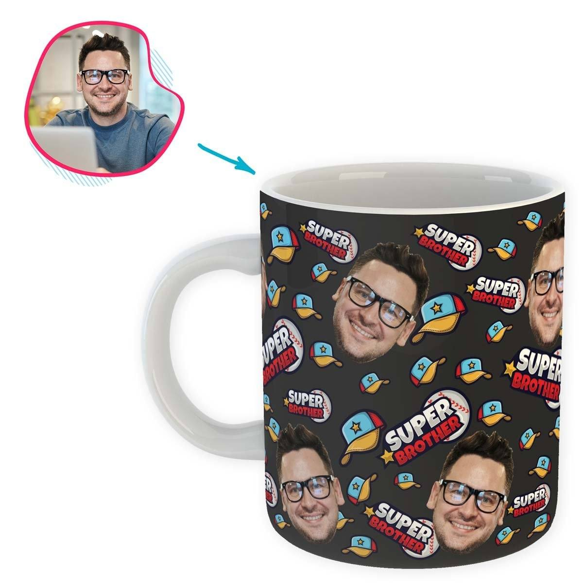 dark Super Brother mug personalized with photo of face printed on it