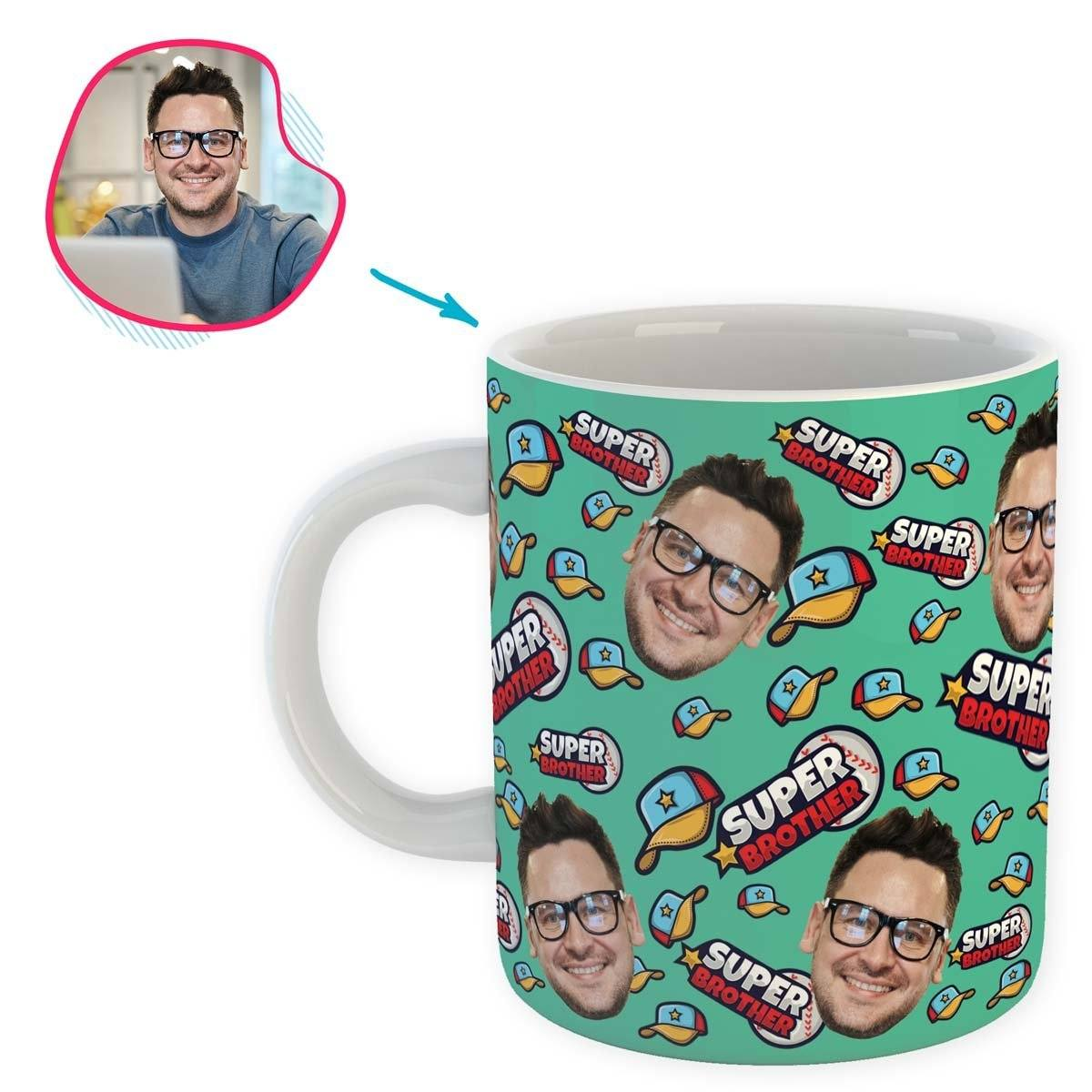 mint Super Brother mug personalized with photo of face printed on it