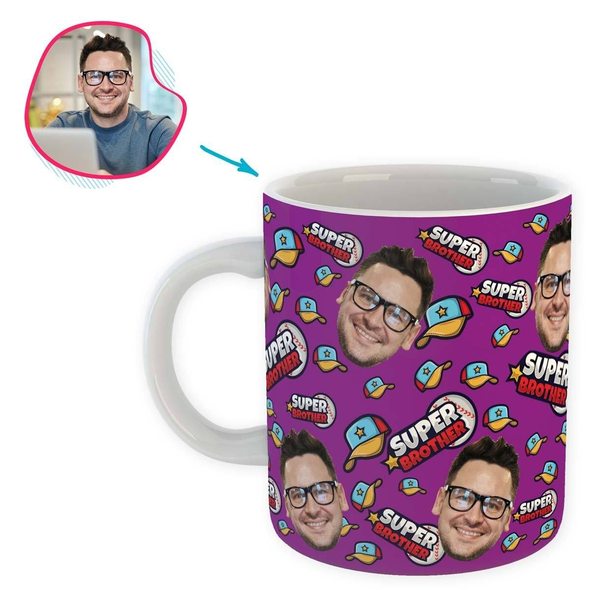 purple Super Brother mug personalized with photo of face printed on it