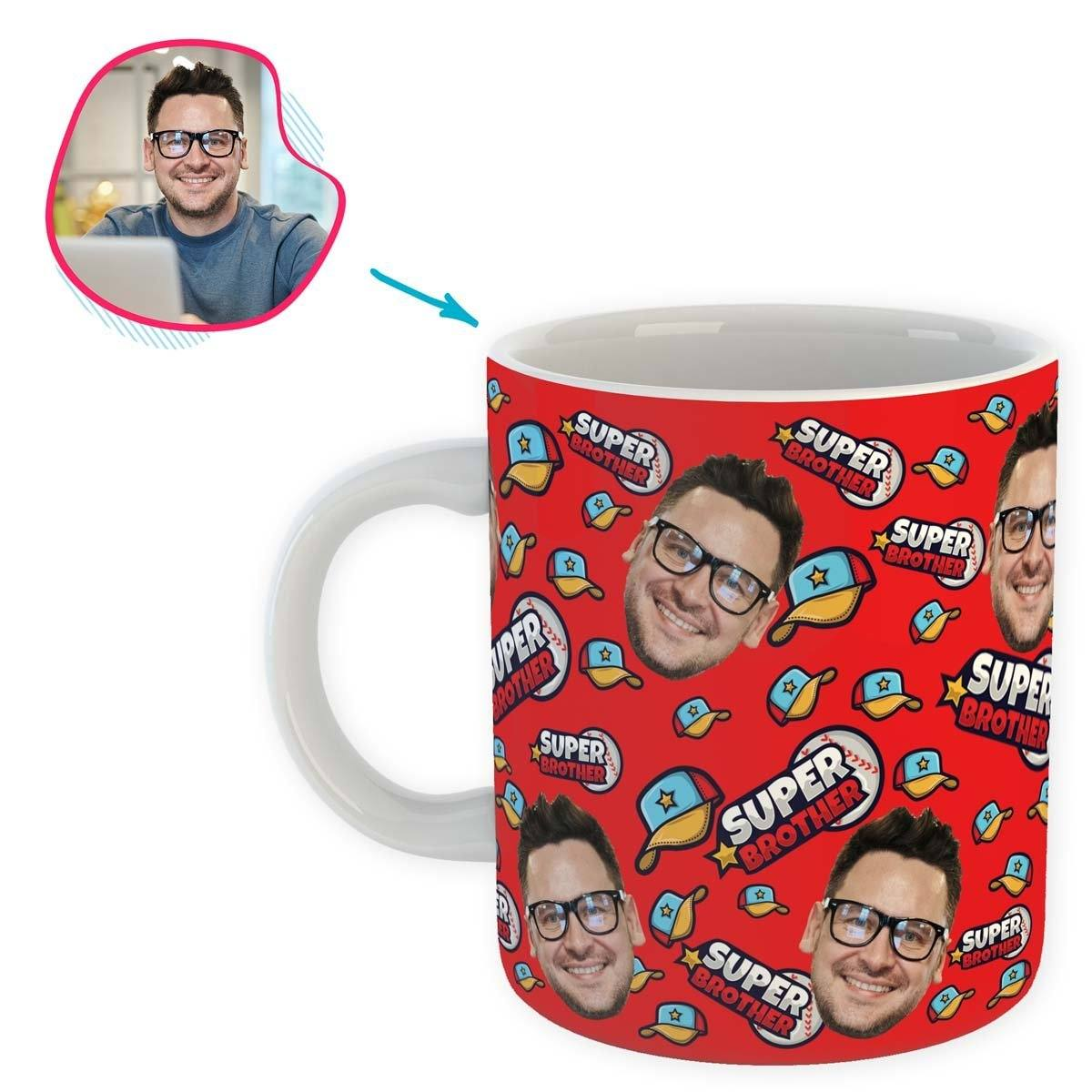 red Super Brother mug personalized with photo of face printed on it