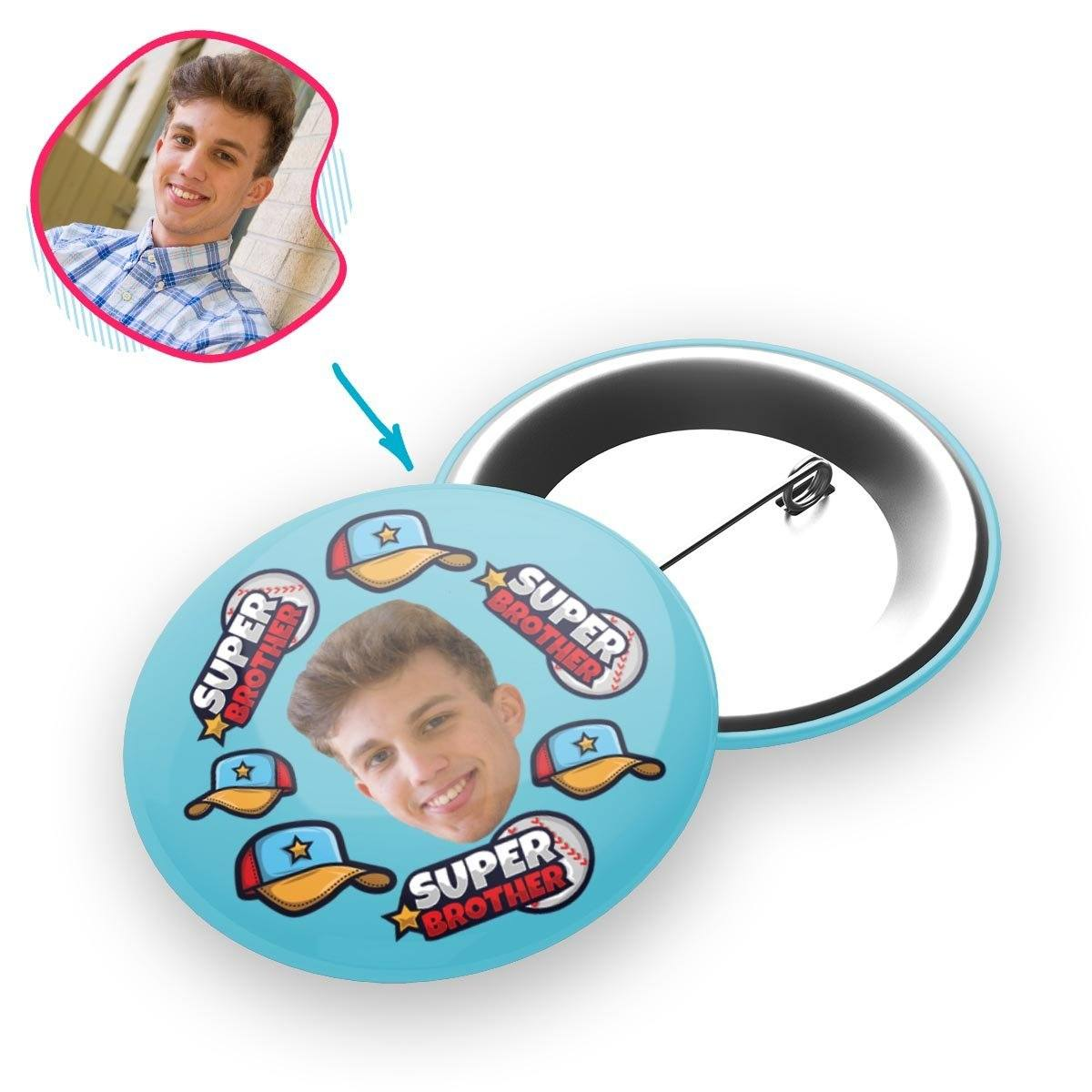 blue Super Brother pin personalized with photo of face printed on it