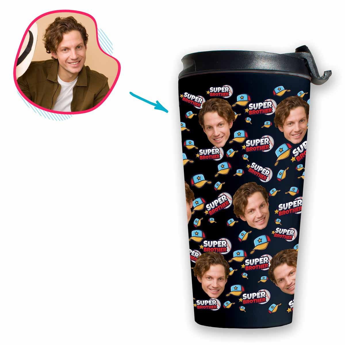 dark Super Brother travel mug personalized with photo of face printed on it