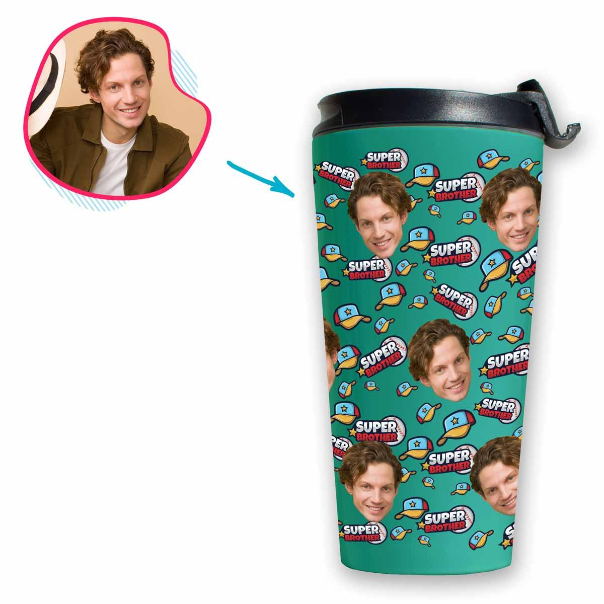 mint Super Brother travel mug personalized with photo of face printed on it