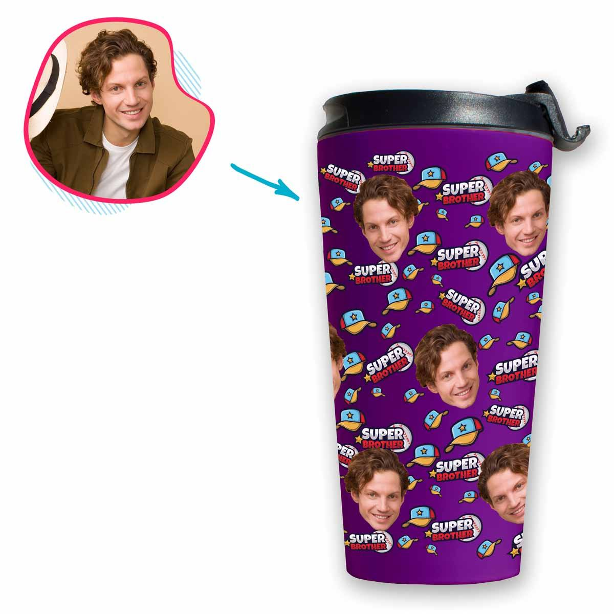 purple Super Brother travel mug personalized with photo of face printed on it