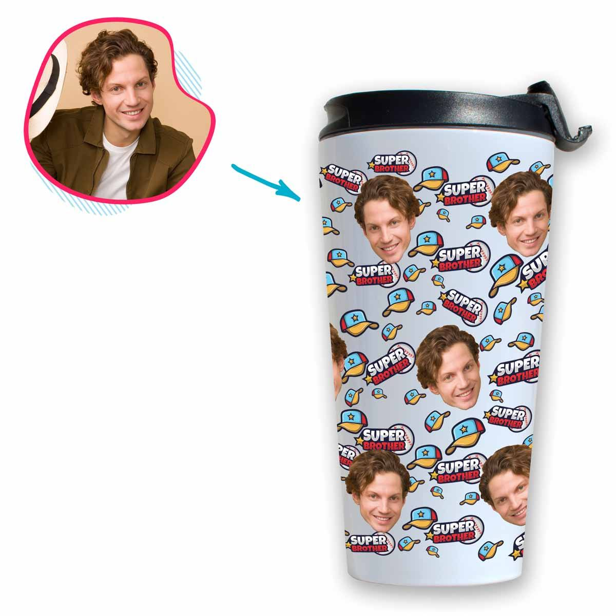 white Super Brother travel mug personalized with photo of face printed on it