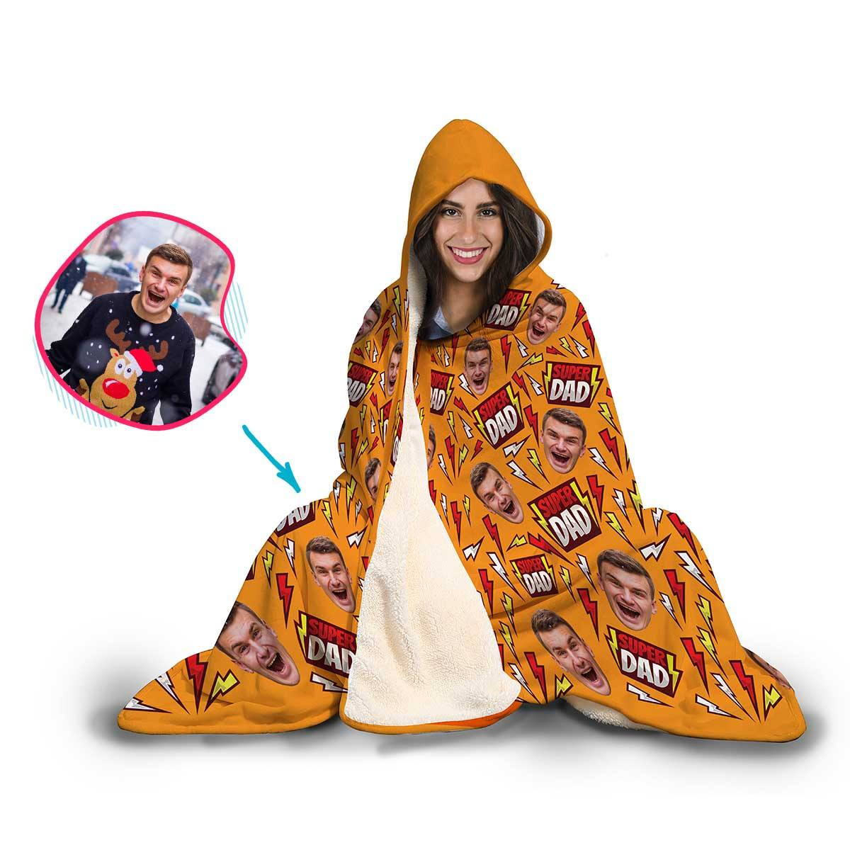 Super Dad Personalized Hooded Blanket