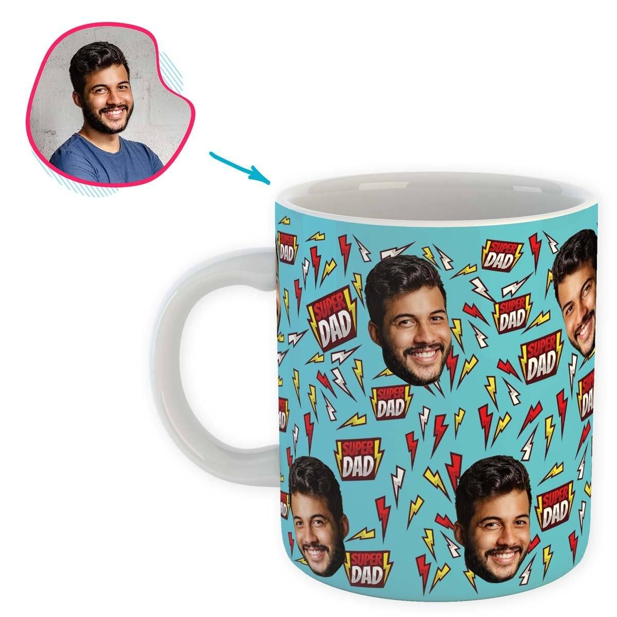 blue Super Dad mug personalized with photo of face printed on it