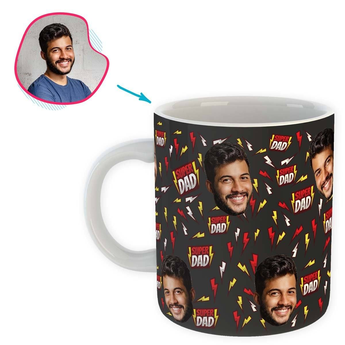 dark Super Dad mug personalized with photo of face printed on it