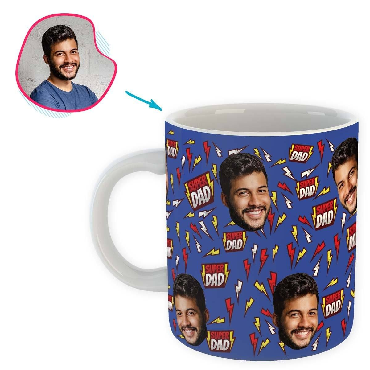 darkblue Super Dad mug personalized with photo of face printed on it