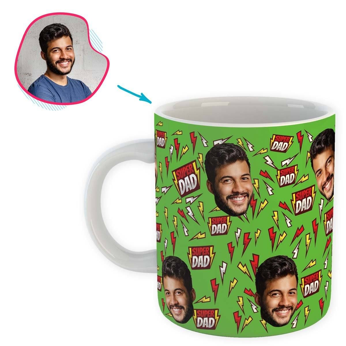 green Super Dad mug personalized with photo of face printed on it