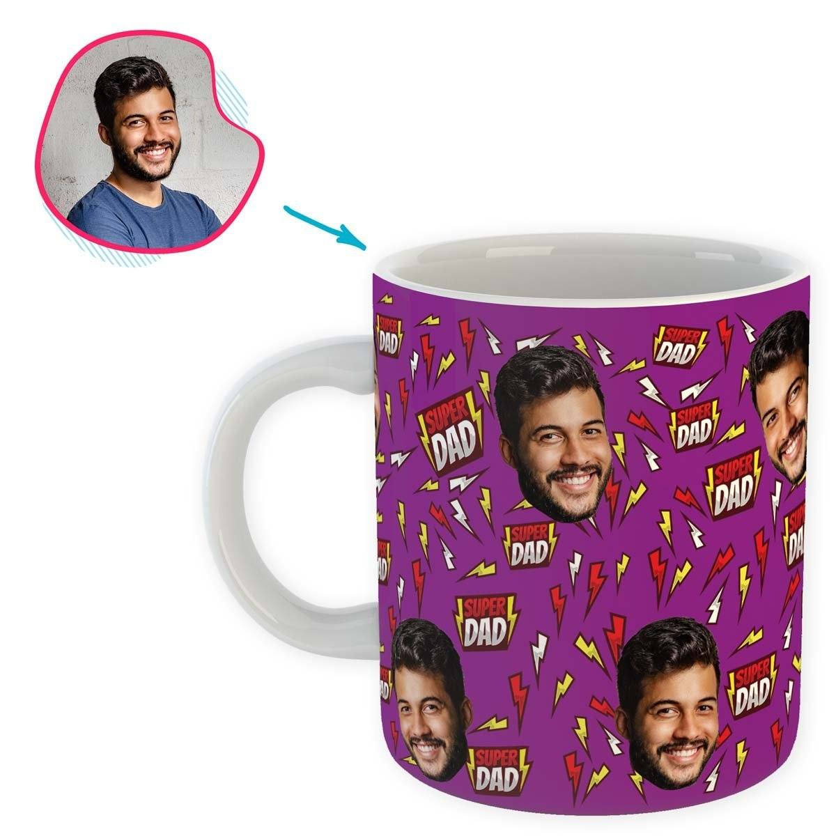 purple Super Dad mug personalized with photo of face printed on it