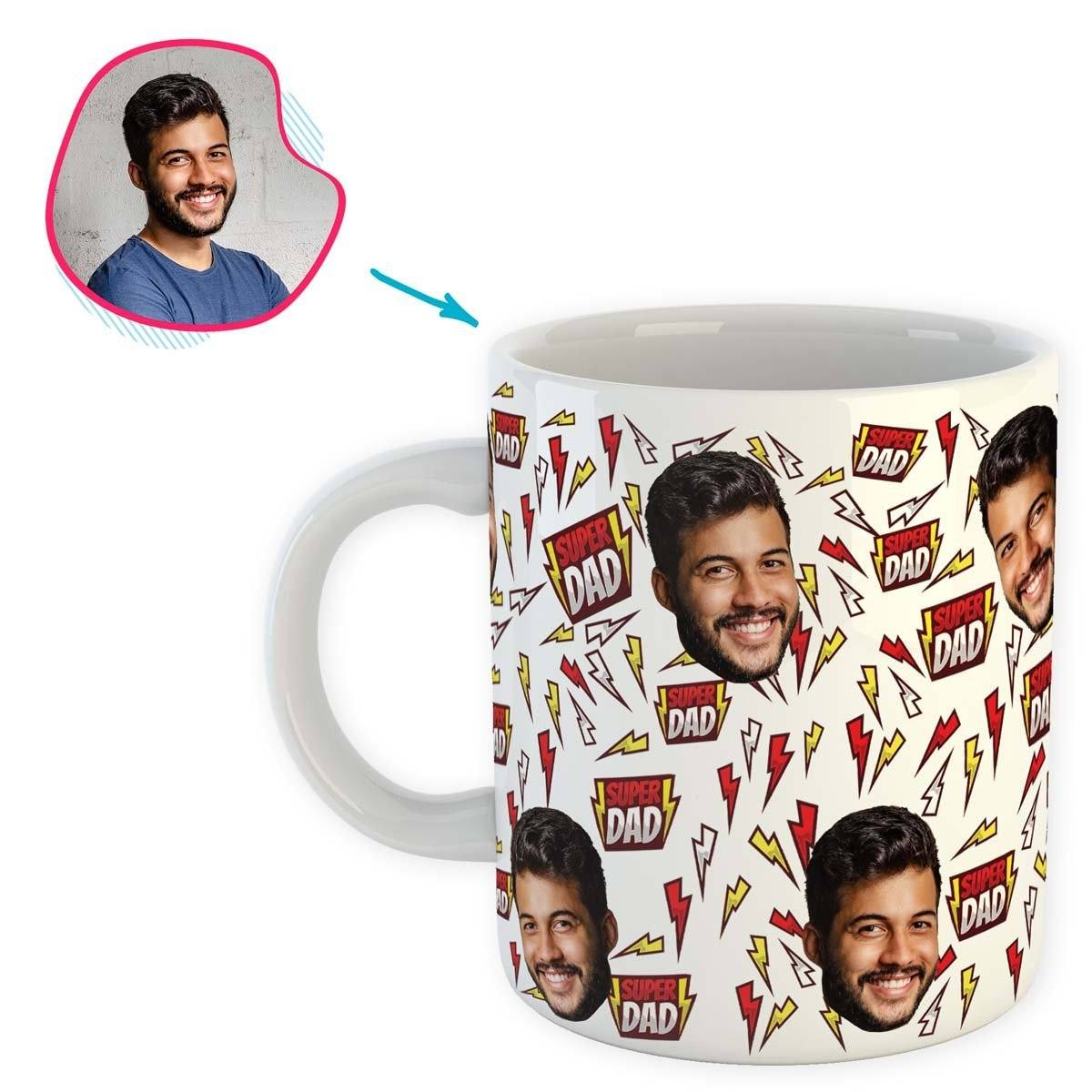 white Super Dad mug personalized with photo of face printed on it