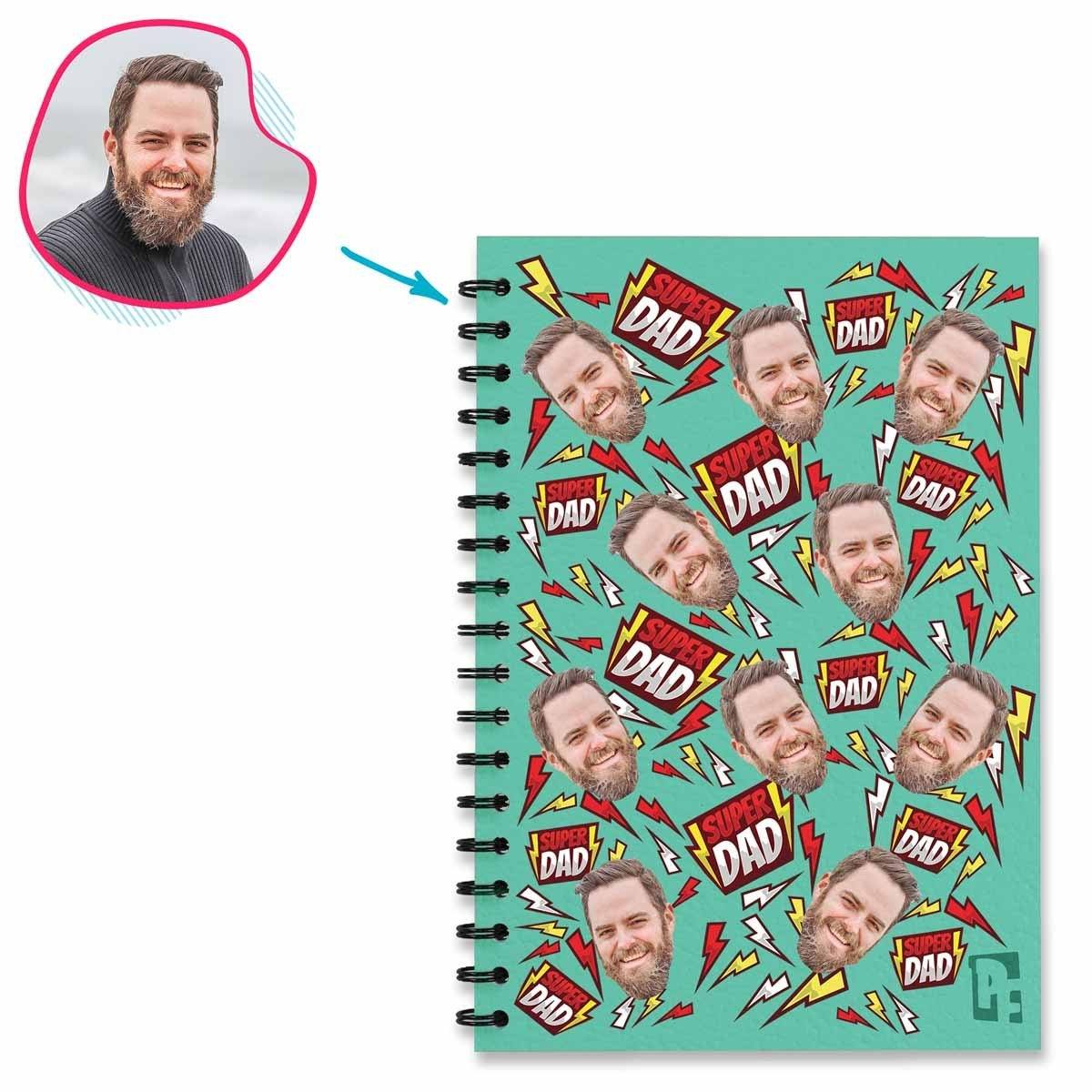 mint Super Dad Notebook personalized with photo of face printed on them