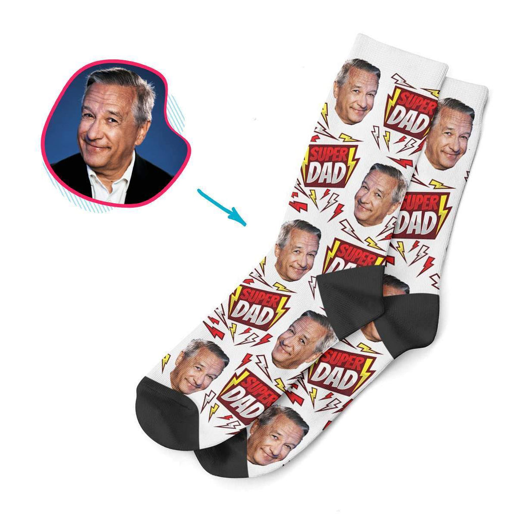 white Super Dad socks personalized with photo of face printed on them