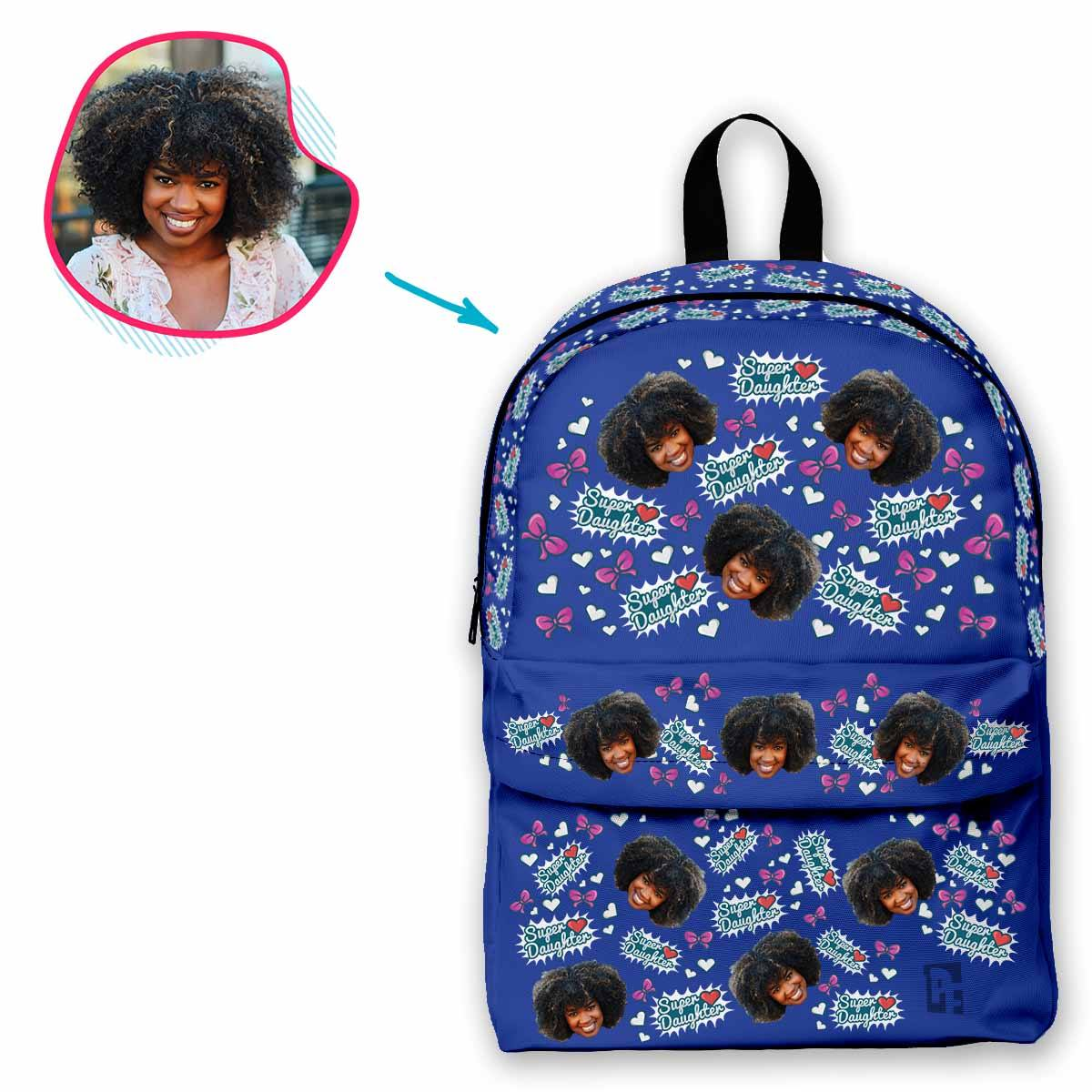darkblue Super Daughter classic backpack personalized with photo of face printed on it