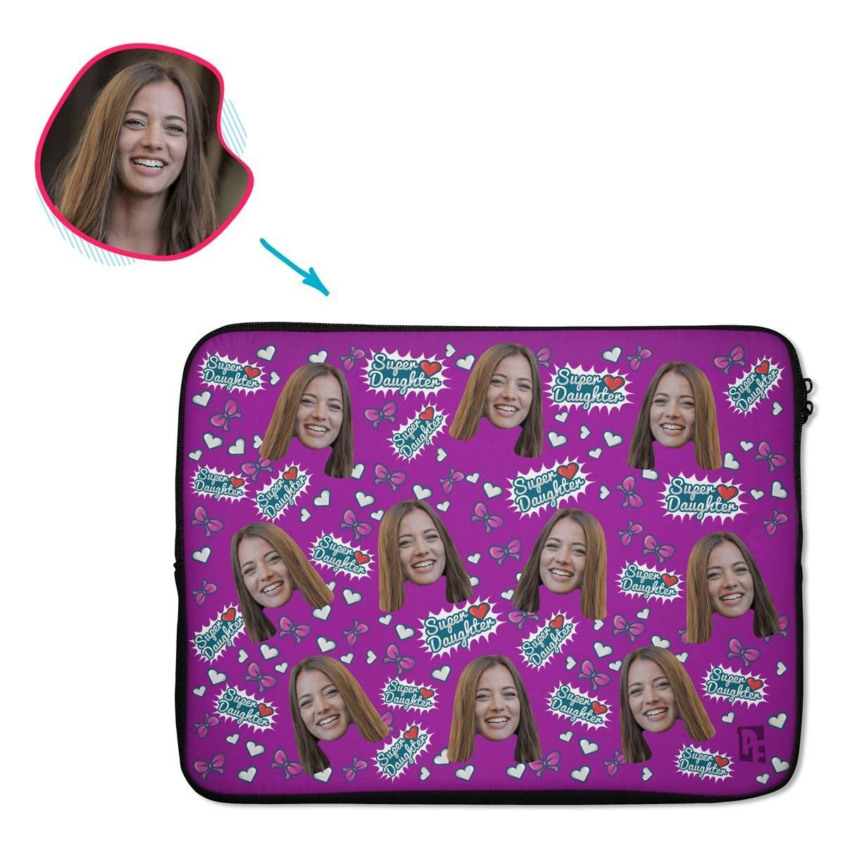 purple Super Daughter laptop sleeve personalized with photo of face printed on them