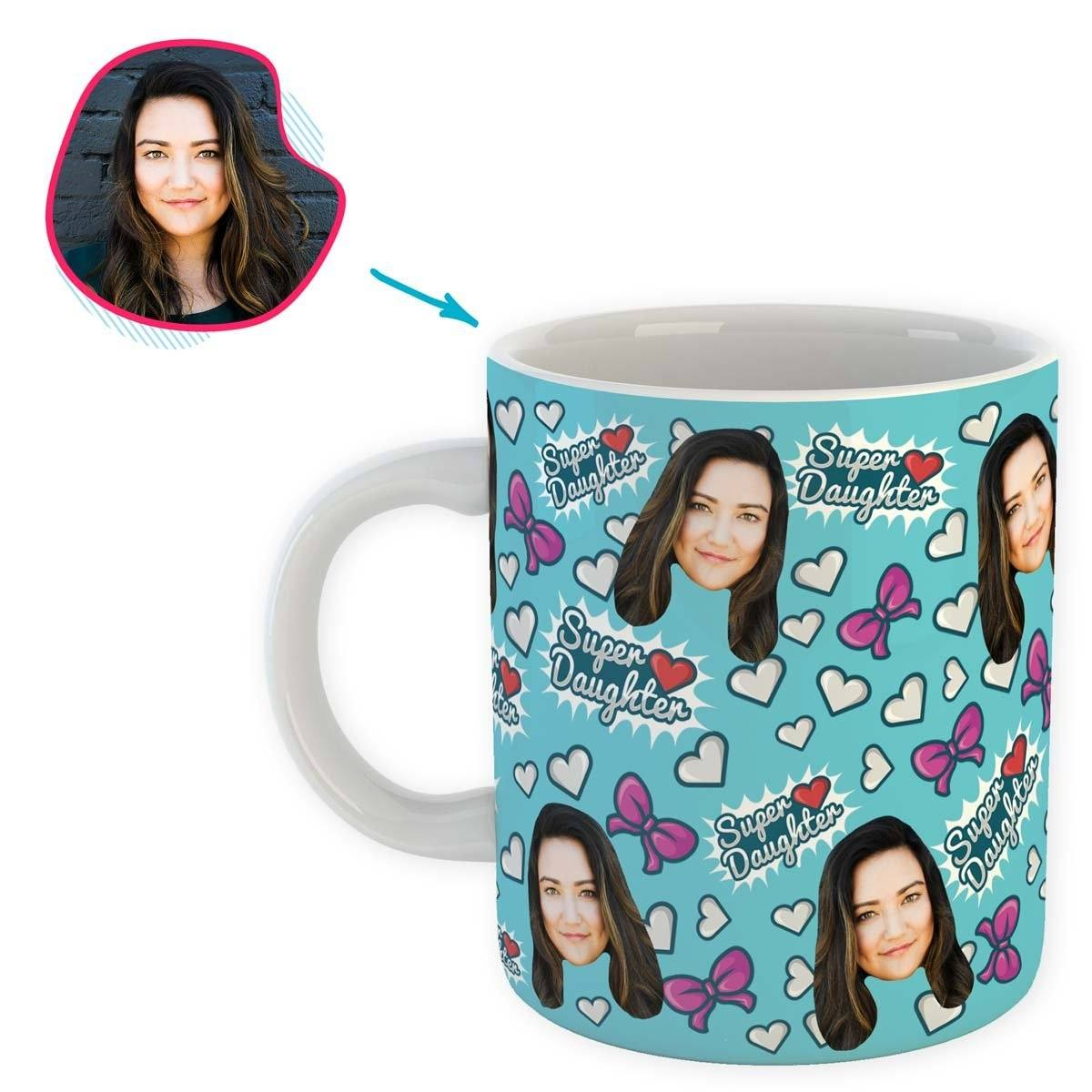 blue Super Daughter mug personalized with photo of face printed on it