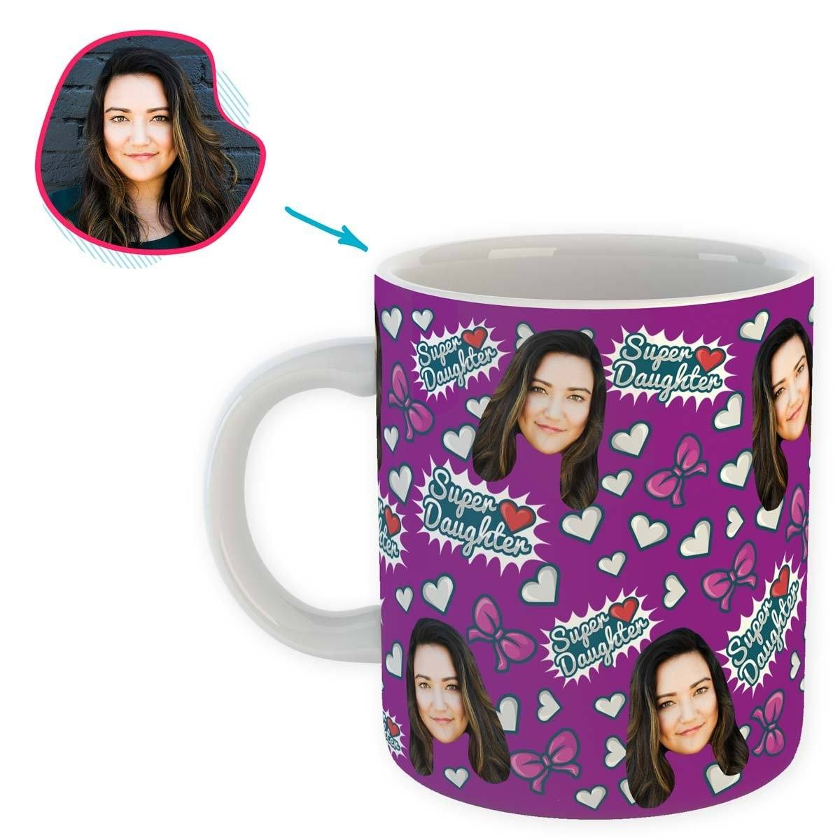 purple Super Daughter mug personalized with photo of face printed on it