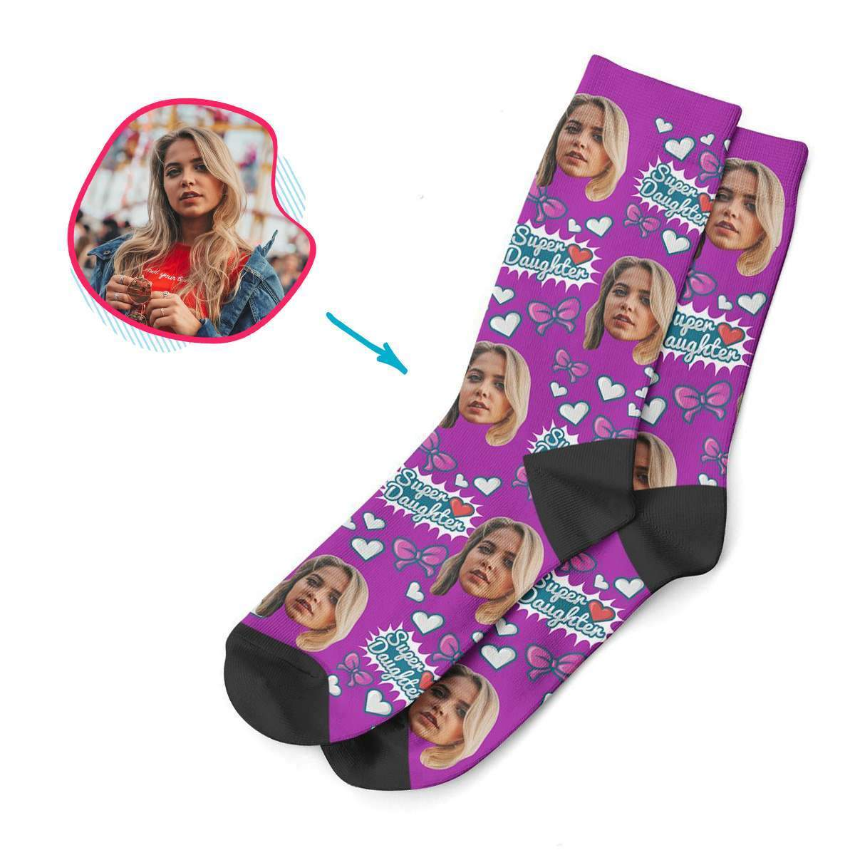 purple Super Daughter socks personalized with photo of face printed on them