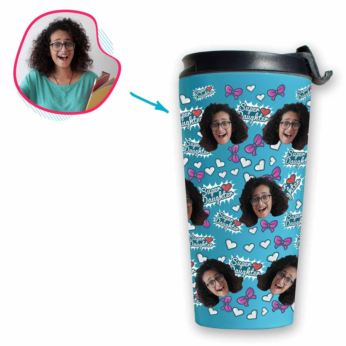 blue Super Daughter travel mug personalized with photo of face printed on it