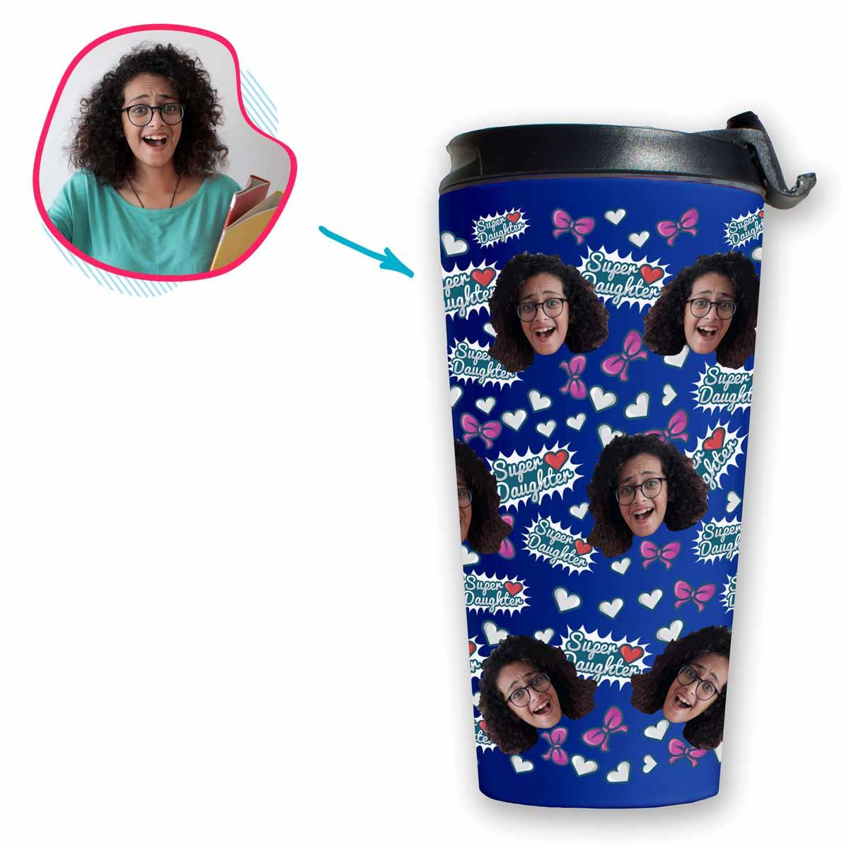 darkblue Super Daughter travel mug personalized with photo of face printed on it