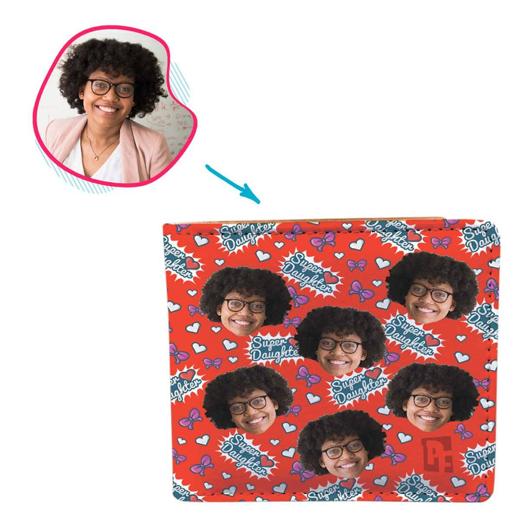 red Super Daughter wallet personalized with photo of face printed on it