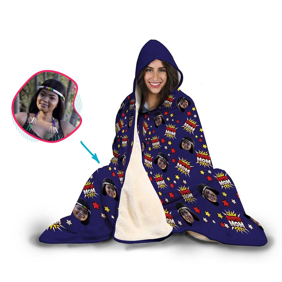 Super Mom Personalized Hooded Blanket