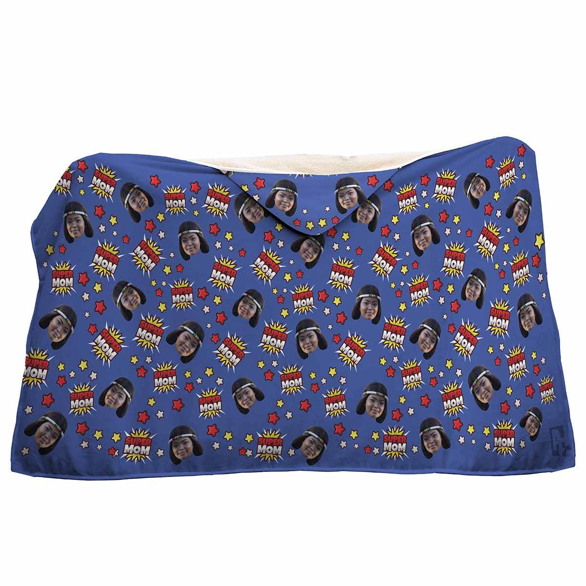 darkblue Super Mom hooded blanket personalized with photo of face printed on it