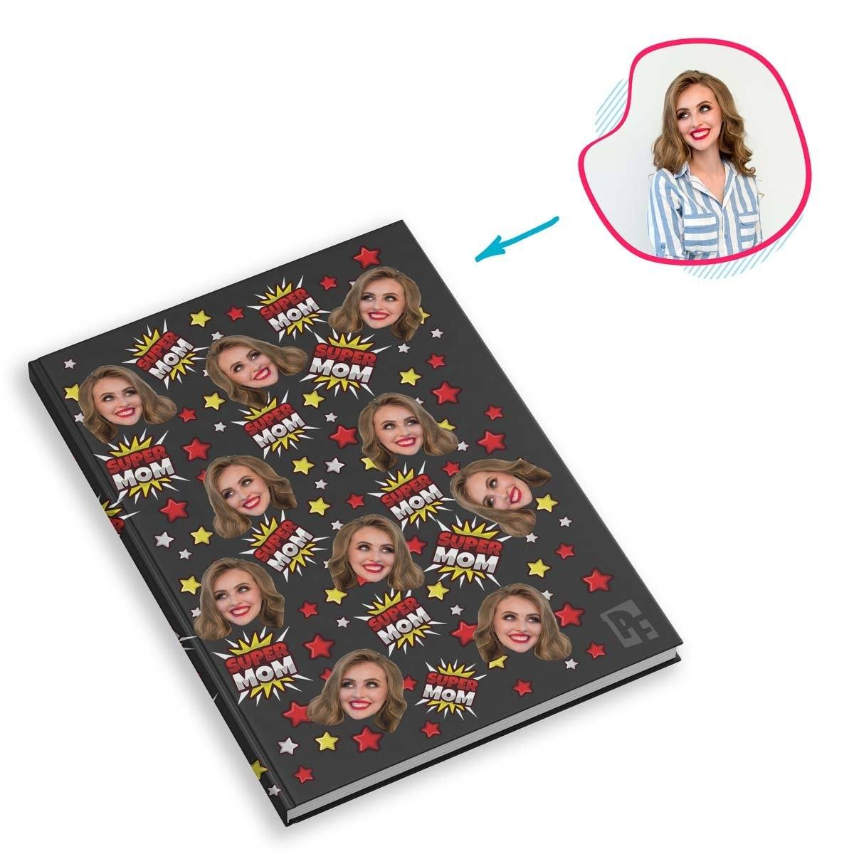 dark Super Mom Notebook personalized with photo of face printed on them