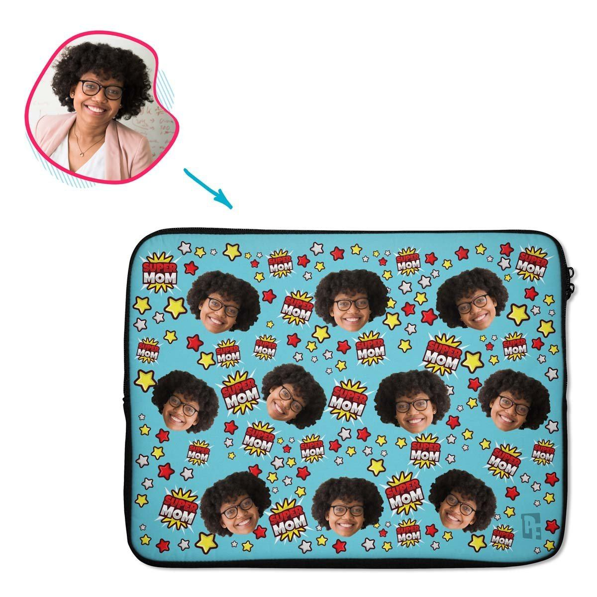 blue Super Mom laptop sleeve personalized with photo of face printed on them