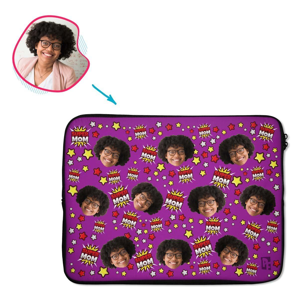 purple Super Mom laptop sleeve personalized with photo of face printed on them