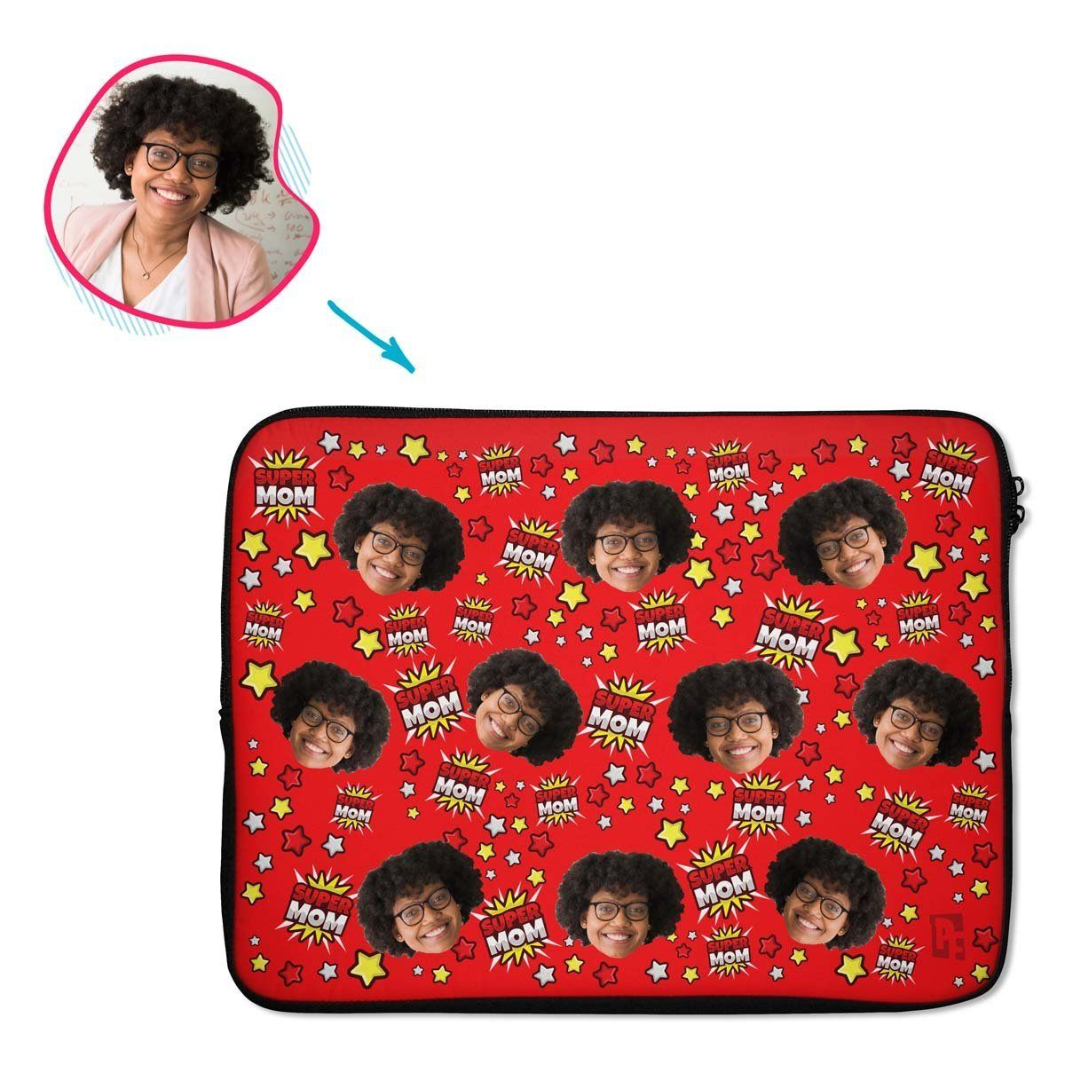 red Super Mom laptop sleeve personalized with photo of face printed on them
