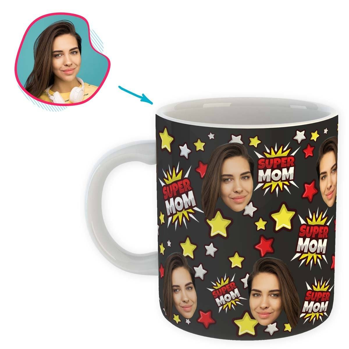 dark Super Mom mug personalized with photo of face printed on it