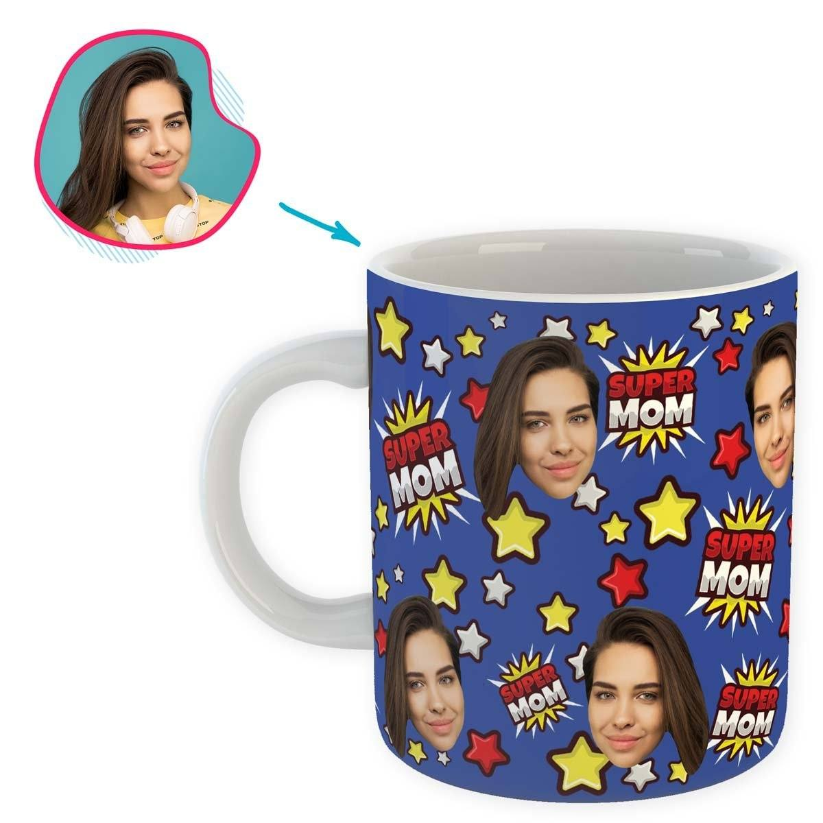 darkblue Super Mom mug personalized with photo of face printed on it