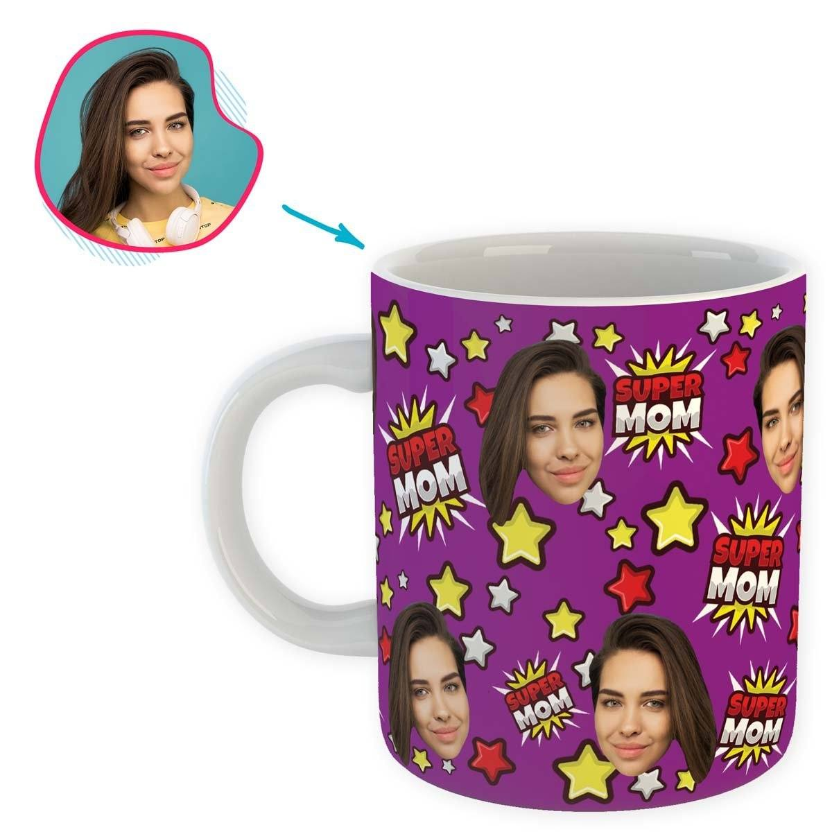 purple Super Mom mug personalized with photo of face printed on it