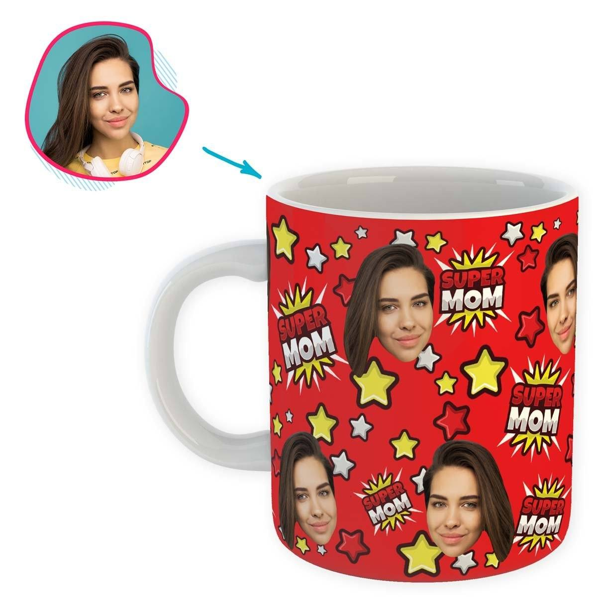 red Super Mom mug personalized with photo of face printed on it