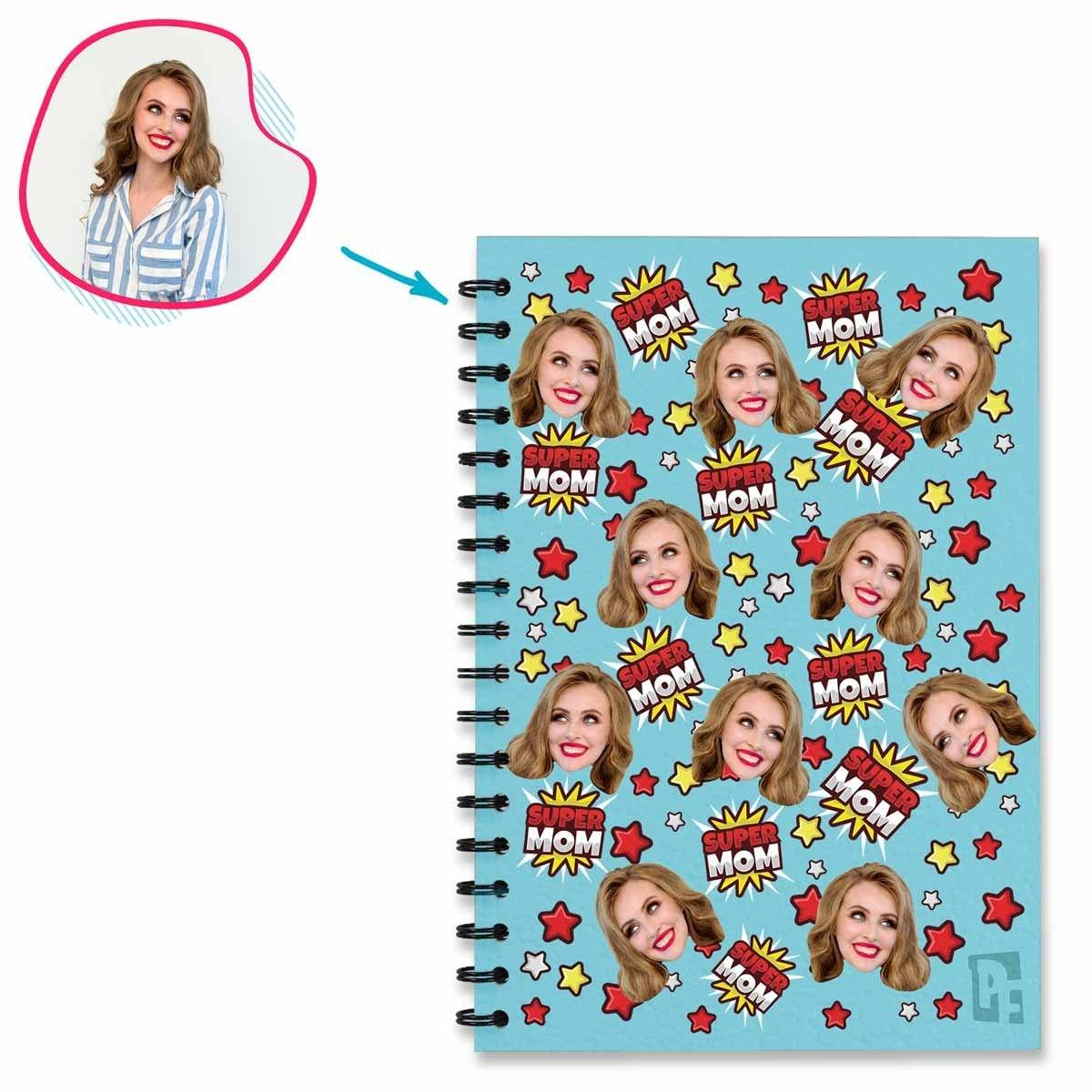 blue Super Mom Notebook personalized with photo of face printed on them